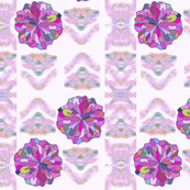 Pink and Violet Ikat Stripes with Flowers and Arrows