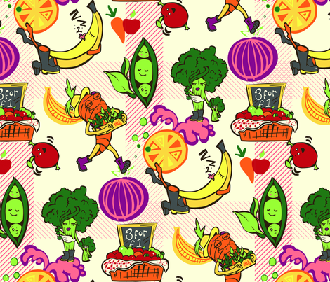 Veggie Market fabric by rheablah on Spoonflower - custom fabric