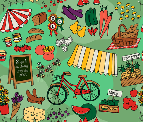 green farmer market fabric by maeli on Spoonflower - custom fabric