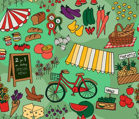 green farmer market fabric by maeli on Spoonflower - custom fabric