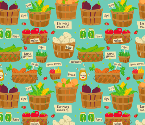 farmers market baskets fabric by figgy-pudding on Spoonflower - custom fabric