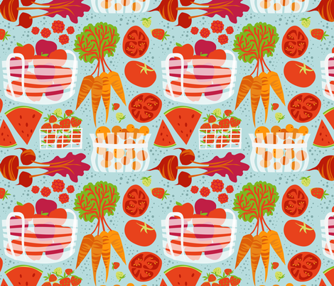 RPickens_FarmersMarket_RedLtBlue fabric by robinpickens on Spoonflower - custom fabric