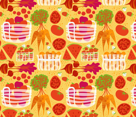 RPickens_FarmersMarket_RedYellow fabric by robinpickens on Spoonflower - custom fabric