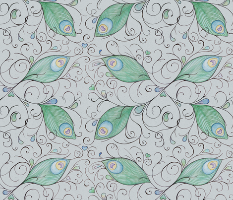 feathers_spoonflower fabric by liselle on Spoonflower - custom fabric