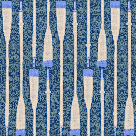 Oars & Nets - indigo & royal blue fabric by materialsgirl on Spoonflower - custom fabric