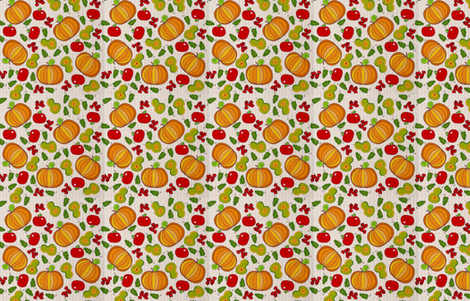 Fall harvest on a dotted background fabric by vanillabeandesigns on Spoonflower - custom fabric