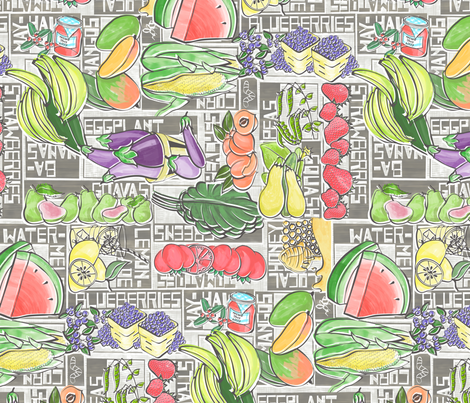 Summer Fruits and Veggies fabric by fourthirteen on Spoonflower - custom fabric