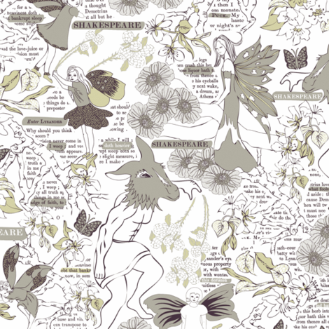 A Faded Study of Shakespeare's Summer Dream fabric by mag-o on Spoonflower - custom fabric