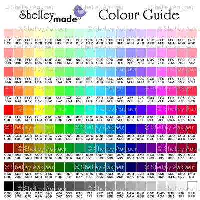 Personalised Name Fabric - Colour Chart