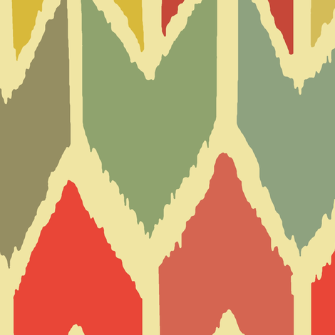 warm beach house ikat chevron large fabric by scrummy on Spoonflower - custom fabric