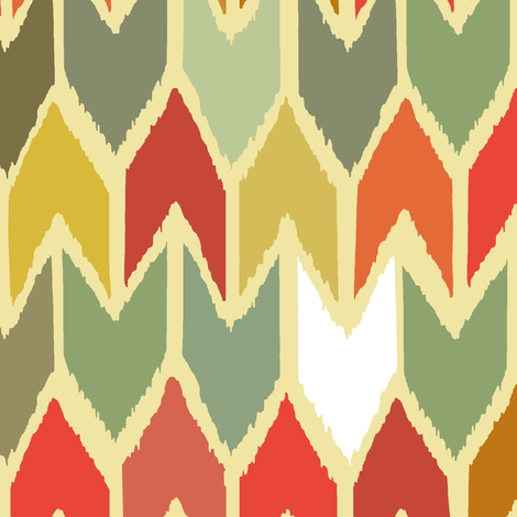 warm beach house ikat chevron small fabric by scrummy on Spoonflower - custom fabric