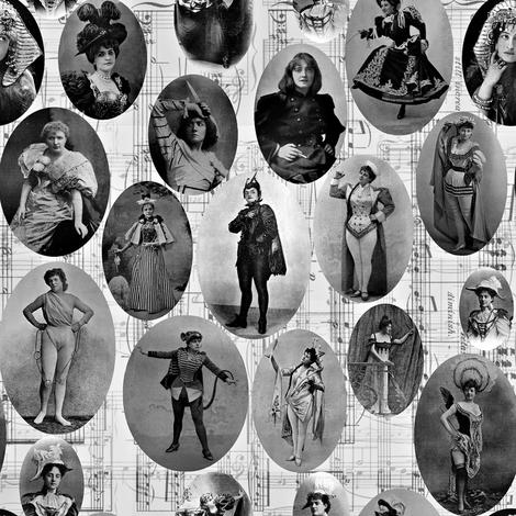 1890's British Actress Vignettes: Sml B/W fabric by callioperosehandcarjones on Spoonflower - custom fabric