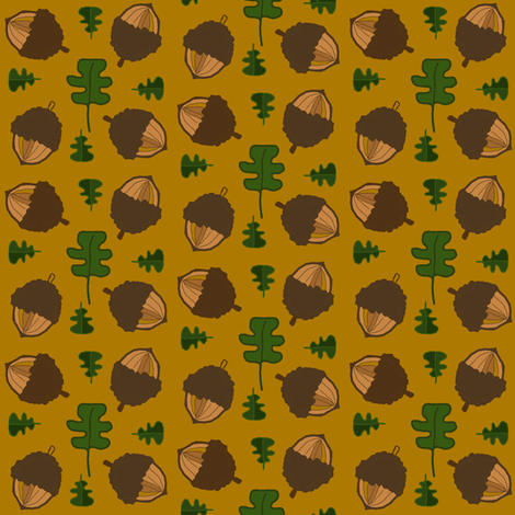 Oak Leaves and Acorns fabric by ravynscache on Spoonflower - custom fabric