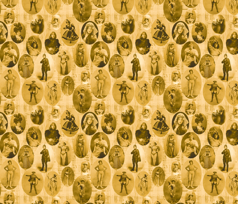 1890's British Actress Vignettes: Small Sepia fabric by callioperosehandcarjones on Spoonflower - custom fabric