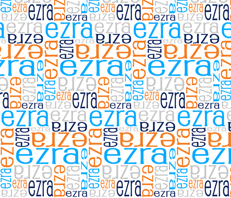 Personalised Name Fabric - Aqua Orange Navy Grey
