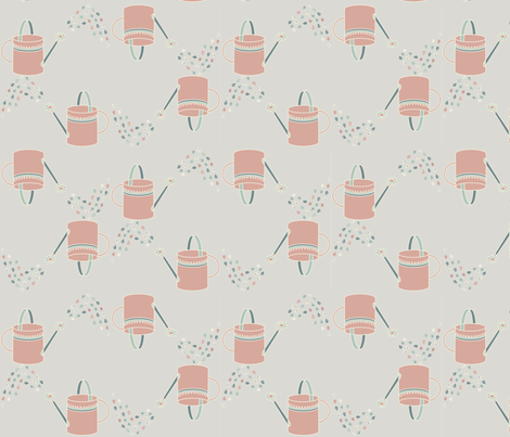 Watering_Cans_pink_both_ways fabric by handmaid on Spoonflower - custom fabric