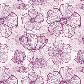 Ornate dark pink doodle flowers