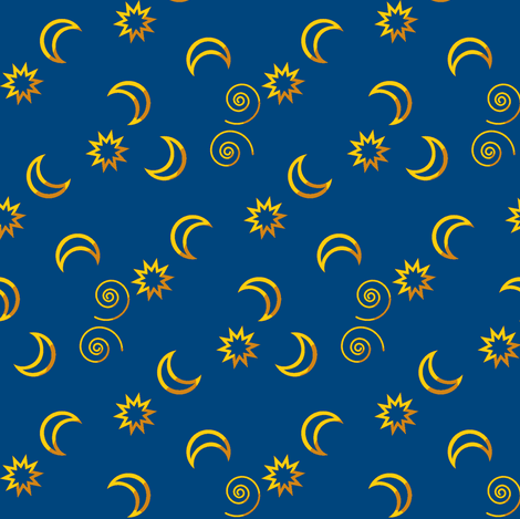 Moon and stars random ravynscache spoonflower for Moon and stars fabric