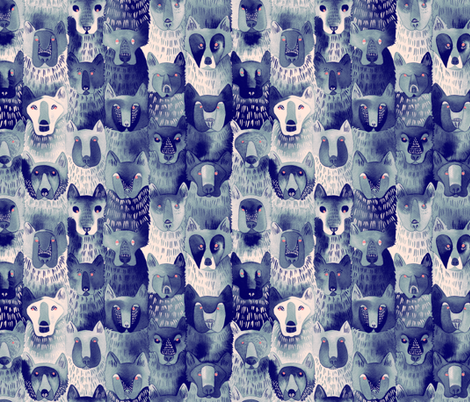 Indigo Wolf Pack fabric by caitlinclarkson on Spoonflower - custom fabric