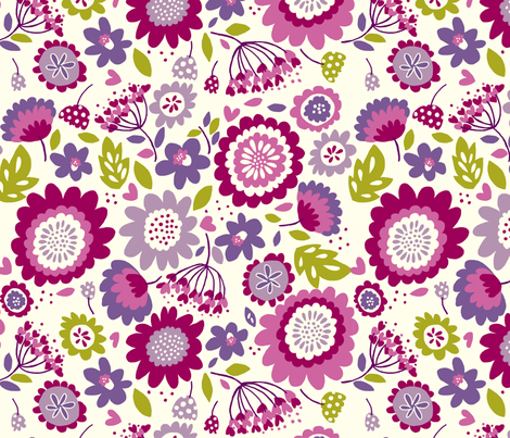 Dancing_Flowers_Purple fabric by stacyiesthsu on Spoonflower - custom fabric