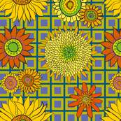 sunflower_fabric_chartreuse-blue-purple