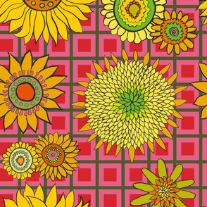 sunflower_fabric_green-red-salmon_check