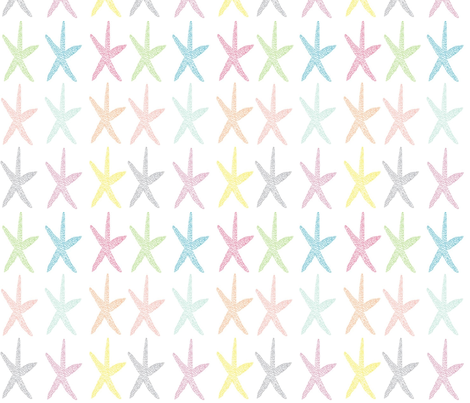 Rainbow starfish fabric by mezzime on Spoonflower - custom fabric