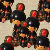 Kokeshi Dolls Cream Linen