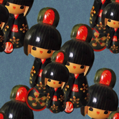 Kokeshi Dolls on Denim