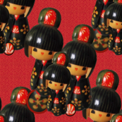 Kokeshi Dolls on Red