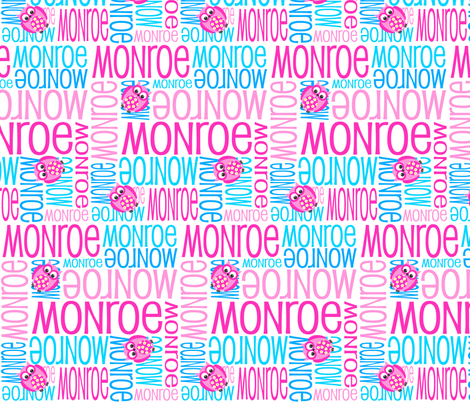 Personalised Name Fabric - Owls in Pink and Aqua fabric by shelleymade on Spoonflower - custom fabric