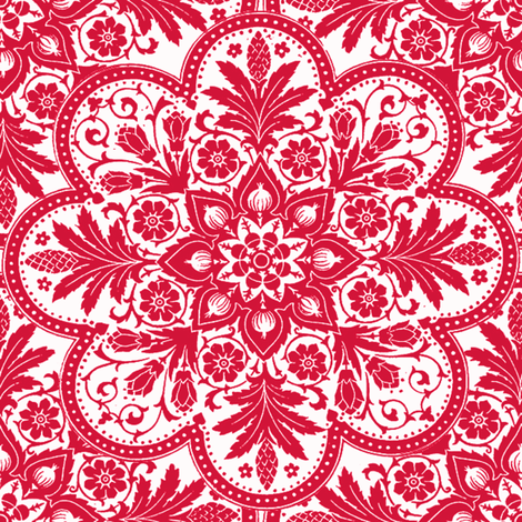 Bombay ~ Red & White fabric by peacoquettedesigns on Spoonflower - custom fabric