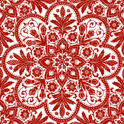 Bourgogne Tile ~  Adrianople Turkey Red and White