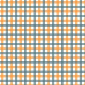 Orange Daisies Plaid