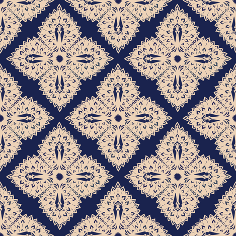 Peacock Snowflake fabric by kitcameo on Spoonflower - custom fabric