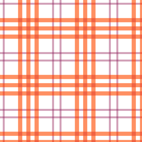 Alex Plaid ~ Coral & Plum II ~Softer fabric by peacoquettedesigns on Spoonflower - custom fabric