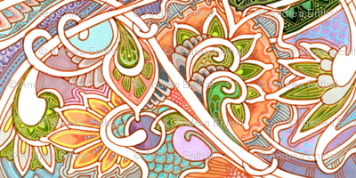 One Peachy Paisley vertical stripe