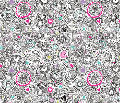 Doodley Doo- Hearts-a-Plenty fabric by cynthiafrenette on Spoonflower - custom fabric