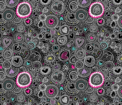 Doodley Doo-Hearts-a-Plenty-at night fabric by cynthiafrenette on Spoonflower - custom fabric