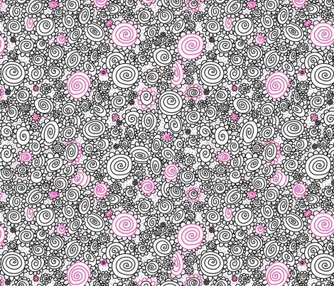 Doodley Doo-Cozy Rosies fabric by cynthiafrenette on Spoonflower - custom fabric