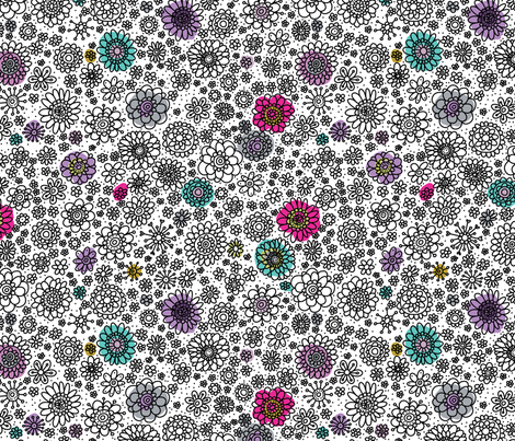 Doodley Doo-Floweries  fabric by cynthiafrenette on Spoonflower - custom fabric