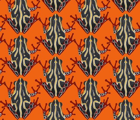 congo tree frog orange (large scale) fabric by scrummy on Spoonflower - custom fabric