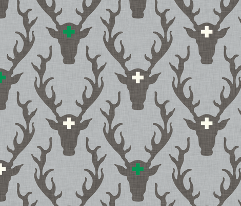 deer_head_green fabric by holli_zollinger on Spoonflower - custom fabric