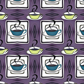 Vintage Coffee Cup Kitchy Pattern