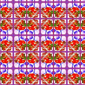 Purple Daisies Abstracted Plaid
