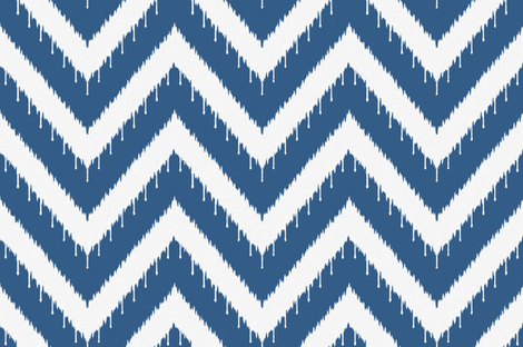 Blue Ikat Beaded Chevron fabric by sparrowsong on Spoonflower - custom fabric