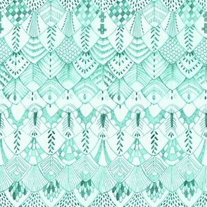 Tribal Owl Feathers, Soft Mint