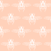 Bees in White on Peach