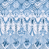 Tribal Owl Feathers in Blue, Larger Scale