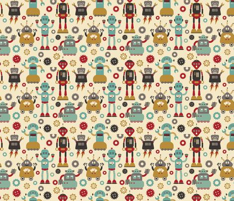 Retro Robots on Cream  fabric by cynthia_arre on Spoonflower - custom fabric